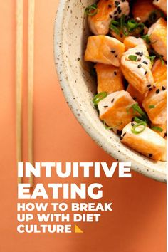 Let's talk about intuitive eating. (Never heard of it? Jump over to this article on what intuitive eating is and then come back.) Now that you know the basics, it's time to get into the nitty-gritty of how to incorporate it into your lifestyle. Intuitive Eating is broken down into 10 guiding principles, plus some other chapters that touch on kiddos and eating disorders. These principles are very helpful in starting your intuitive eating journey. Intuitive Eating, What You Eat, Intuition, Breakup, Sweet Potato, Healthy Lifestyle, Healthy Eating, Diet, Vegetables