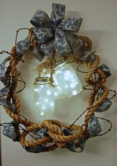 Spring and Summer Wreath, Rustic Decor, Western Wreath, Barb Wire Wreath, Rope Wreath, Mason Jar Wreath by HangingTouches on Etsy