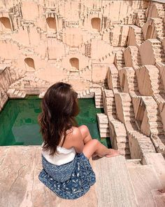 How many of you would like to sit and adore the gracious stepwells of Abhaneri, Jaipur - Chand Baori; also one of the largest in the world? Portrait Photography Poses, Tumblr Photography, Travel Photography, Wedding Photography, Jaipur Travel, India Travel, India Trip, Travel Pictures, Travel Photos