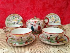 Tea Pot 4 Cups and Saucers Japanese Design Made in Japan by ThePinkVintageRose on Etsy