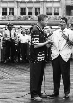 Dean Martin with NBC News's Jack Lescoulie on the Atlantic City boardwalk, June 1954.