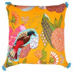 """Pillow with a patchwork bird motif and pompom details.  Product: PillowConstruction Material: 100% Cotton Color: YellowFeatures: Insert includedDimensions: 18"""" x 18""""Cleaning and Care: Machine washable"""