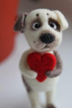 Валяние из шерсти | FELTING | Сундук с шерстью. Dog with heart.