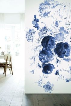 Kek Amsterdam Wall Mural Royal Blue Flowers I - Jetzt kaufen! Blue Floral Wallpaper, Accent Wallpaper, Of Wallpaper, Photo Wallpaper, Flower Wallpaper, Pattern Wallpaper, Blue Accent Walls, Accent Wall Bedroom, Wall Murals Bedroom