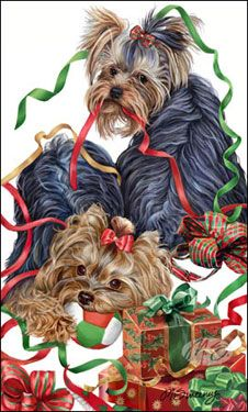 """Yorkshire Terrier Christmas Holiday Cards are 8 1/2"""" x 5 1/2"""" and come in packages of 12 cards. One design per package. All designs include envelopes, your personal message, and choice of greeting. Select the greeting of your choice from the drop-down menu above. Add your personal message to the Comments box during checkout."""