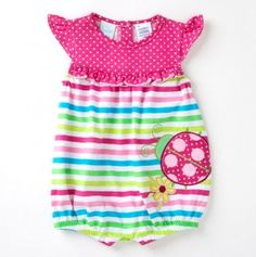Infant Girls Striped and Dot Romper with Ladybug