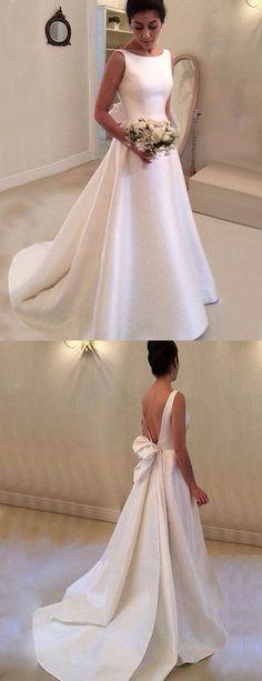 elegant bateau wedding dresses with court train, #weddingdresses