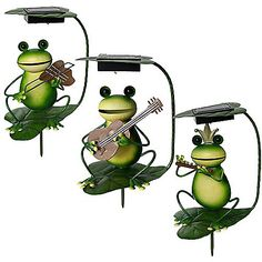 Solar-Powered Frog Band Lighted Garden Stakes
