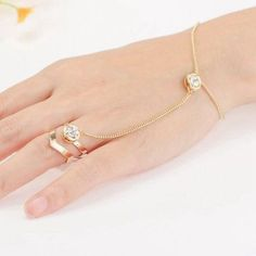 nice Fashion Punk Jewelry Women Rhinestone Crystal Gold Ring Bangle Party Bracelet - For Sale View more at http://shipperscentral.com/wp/product/fashion-punk-jewelry-women-rhinestone-crystal-gold-ring-bangle-party-bracelet-for-sale/