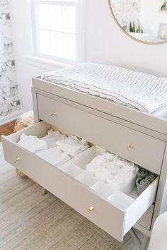 Nursery Organization 101 Nursery drawer Organization to keep everything in its place Baby Room Design, Baby Room Decor, Nursery Design, Baby Room Colors, Baby Boy Rooms, Kids Rooms, Baby Boy Bedding, Baby Crib, Crib Bedding