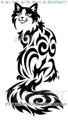 Sitting Tribal Cat Design by WildSpiritWolf on deviantART