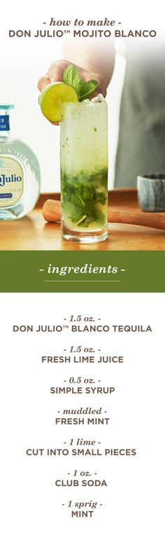If you and your friends prefer mojitos to margaritas, this is the perfect Cinco de Mayo cocktail for you! Mix up your celebration with a tequila twist on the rum classic—the Don Julio™ Mojito Blanco. Pour 1.5 oz Don Julio™ Blanco Tequila, 0.5 oz lime juice and 0.5 oz simple syrup into a mixing glass. Add freshly muddled mint leaves and limes into the glass, then fill with ice and shake vigorously. Top with 1 oz of club soda, shake once and pour into a highball glass. Garnish with a mint…