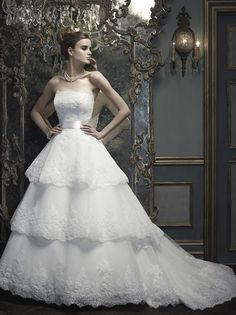 Yeah yeah, I already have my dress. But this is stunning - Casablanca Bridal B064 - tierd, point d'esprit.