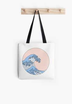 bag aesthetic 'aesthetic wave' Tote Bag by Tods Bag, Diy Tote Bag, Reusable Tote Bags, Cute Tote Bags, Printed Tote Bags, Canvas Tote Bags, Diy Bag Painting, Types Of Handbags, Painted Bags
