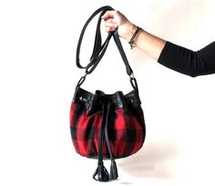 Plaid and Leather Mini Bucket Bag / Black Leather Bag / by morelle