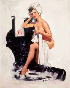 And one more pin-up print for the bathroom