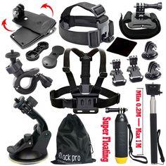 Black Pro Basic Common Outdoor Sports Kit for GoPro Hero 5 / 13 Items NEW