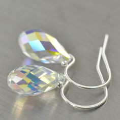 April Birthstone Diamond Swarovski crystal drop earrings