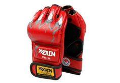 Red Pro MMA Grappling Gloves Half Finger Boxing Gloves Sanda Fighting Sandbag #XGUNION