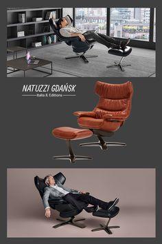 Charakterystyczną cechą fotela Re-vive Wing Back jest jego kształt koperty.   #armchairs #fotele #interior #design #interiordesign #homedecor #armchair #natuzziitalia Armchairs, Eames, Wings, Lounge, Furniture, Home Decor, Italia, Airport Lounge, Homemade Home Decor