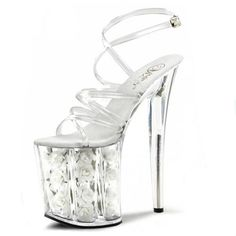 Interest Temptation Crystal High-heeled Dance Shoes Princess 20 Centimeters High Heel Sandals Pole Dancing Shoes