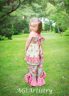 SALE..Buy 2 get 1 Free..Apple Blossom Ruched Drawstring Ruffle Pants, 3-6 M to 8 Instant Download PDF Sewing Pattern via Etsy