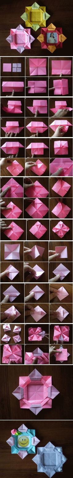 Origami Flowers 409686897327529605 - DIY Origami Flower Picture Frame Source by jennydesienne Diy Origami Blume, Origami And Kirigami, Paper Crafts Origami, Origami Flowers Instructions, Origami Tutorial, Diy Tutorial, Photo Tutorial, Flower Picture Frames, Flower Pictures