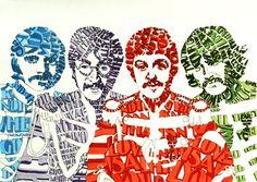 Retratos con tipografías.  The Beatles.