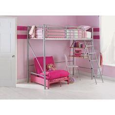 Buy HOME Sit 'N Sleep Metal High Sleeper Futon Bed Frame - Pink at Argos. Futon Bed Frames, High Sleeper Bed, Shared Bedrooms, Childrens Beds, New Beds, House Rooms, Argos, Bedroom Furniture, Kids Room