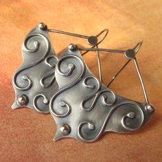 Artisan Jewelry - Argentium Sterling Silver Earrings - Ethnic Flamenco Earrings - Bohemian Jewelry - Statement Earrings - Metalsmith Jewelry