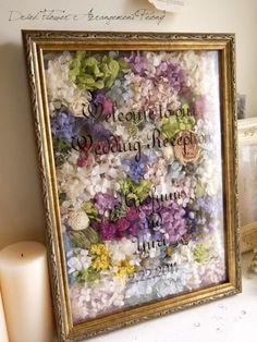 Welcome Board / L-Dried Flower Kranz & Arrangement Wedding Welcome Board, Welcome Boards, Wedding Images, Diy Wedding, Wedding Flowers, Dried Flowers, Paper Flowers, Japan Crafts, How To Preserve Flowers