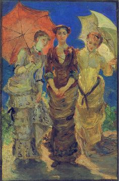 """""""The 3 Graces"""". Marie Bracquemond  (1840–1916) was a French Impressionist described by Gustave Geffroy in 1894 as one of """"les trois grandes dames"""" of Impressionism alongside Berthe Morisot and Mary Cassatt. However, her frequent omission from books on women artists indicate the success of her husband, Félix Bracquemond, in his campaign to thwart her development as an artist. His objection to her art was not on the basis of gender but on the style she adopted, Impressionism."""
