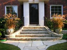 Front porch is a place that the first people see when your house is visited by anyone. Front porch is also the first spot for greeting the guest who come to your house. That's why, front porch must be made… Continue Reading → Exterior Front Doors, Front Door Steps, Front Porch Steps, House Entrance, Exterior Brick, Exterior Stairs, Farmhouse Front Porches, Brick Steps, Front Porch Stone