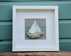 RESERVED for Paula Vintage Sea Map and Driftwood Boat Shawdow