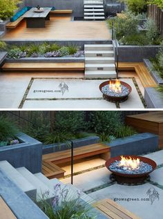This backyard was transformed into a modern tiered garden with seating, a firebowl, a water feature, and stairs connecting the different levels. seating ideas cheap diy Before And After – An Overgrown Garden Was Transformed Into A Backyard Oasis Tiered Garden, Tiered Deck, Modern Garden Design, Modern Design, Modern Courtyard, Zen Design, Modern Landscape Design, Modern Decor, Design Art