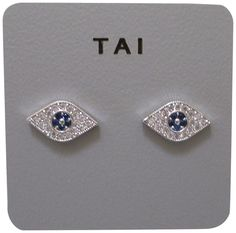 Tai Silver Plated Blue Eye Shaped Stud Earring. Tai silver plated brass and crystal evil eye pierced stud earrings. earrings measure approx 12mm across by 5mm high, they close with a pierced friction back. earrings will come carded on a tai earring card packaged inside a box. items that are handmade may vary in size, shape and color, please use product dimensions for the most accurate description of size, photos are enlarged to show details. made in Thailand.