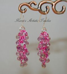 Pink Purple Rainbow Shaggy Loops Bead Dangle Chain Mail Earrings - Karen's Artistic Touches Store
