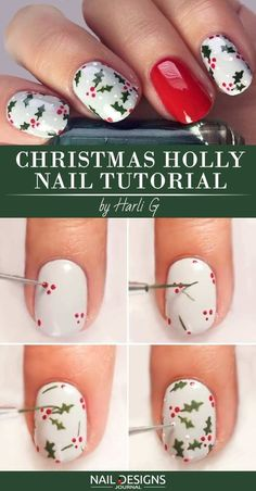 10 Charming Christmas Nail Art Tutorials You'll Adore - Christmas Nail Art Designs Christmas Nail Polish, Xmas Nail Art, Cute Christmas Nails, Holiday Nail Art, Xmas Nails, Winter Nail Art, Cool Nail Art, Winter Nails, Diy Nails