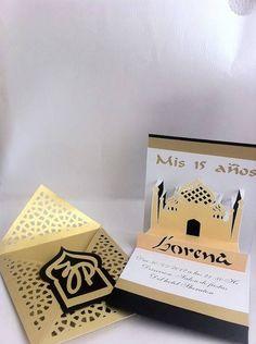 Convite de Kirigami para festa de aniversario casamento com o tema Arabe. convite moderno lindo e elegante.  Tamnho: fechado 14cm x 14cm