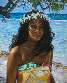Polynesia Paintings » Vahine hei tiare Hawaiian Woman, Hawaiian Girls, Hawaiian Art, Vintage Ski, Vintage Travel Posters, Polynesian Girls, Mexico Travel, Spain Travel, Florida Travel
