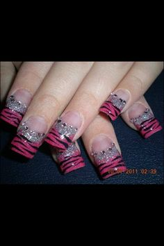Pink with zebra nail art