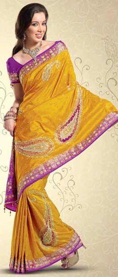 Yellow Pure Silk Saree with Blouse    Itemcode: SKL1233    Price: US$ 576.24    Click @ http://www.utsavfashion.com/store/sarees-large.aspx?icode=skl1233