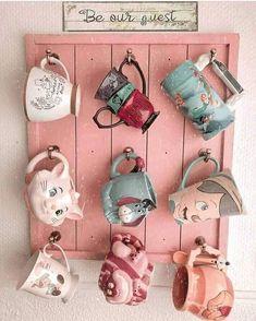 I love Disney mugs! I love Disney mugs! Casa Disney, Disney Diy, Disney House, Mickey Disney, Disney Stuff, Disney Tassen, Disney Merch, Mug Storage, Deco Disney
