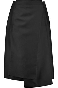 JIL SANDER Asymmetric twill midi skirt. #jilsander #cloth #skirt