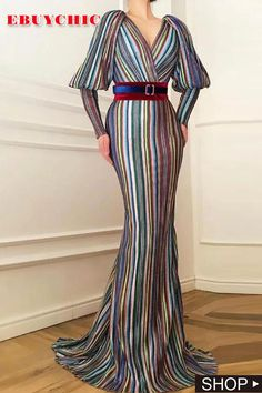 This classic dress features lantern sleeve and striped printing. The v neck dress is for cocktail, party and other occasion. Affordable Evening Dresses, Modest Dresses, Formal Dresses, Spring Skirts, Black Tie Wedding, V Neck Dress, Types Of Sleeves, Evening Gowns, Lantern