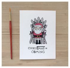 CHRISTMAS IS COMING // game of thrones, got, game of thrones christmas card, punny, punny card, christmas pun, fandom card, stark, direwolf by kenziecardco on Etsy https://www.etsy.com/ca/listing/485107293/christmas-is-coming-game-of-thrones-got