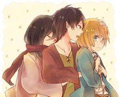 attack on titan eren and mikasa   Mikasa, Armin and Eren - Attack on Titan Picture