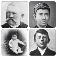 Alois and Klara Hitler, parent of Adolph Hitler, and Hitler as a baby and young boy.