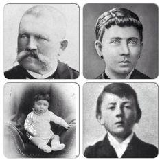 Alois and Klara Hitler, parent of Adolph Hitler, and Hitler as a baby and young boy.