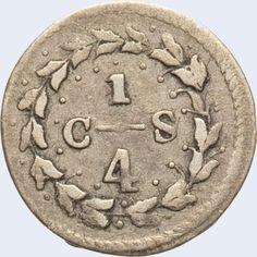 Pieza mpc0.25r-da01v4 (Reverso). Moneda de la Provincia de Caracas. 1/4 Real. Diseño D, Tipo A. Fecha 1829. Variante #4